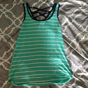 Rue21 Teal and White Tank Crossback